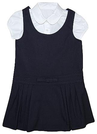 65c9e5bdc5f Girls School Sleeveless Navy Blue Pinafore Dress   White Blouse Uniform 4  to 10 Years (