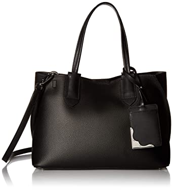 e7a5f4016a0 Calvin Klein Jacky Micro Pebble Leather Slouchy East/West Tote,  Black/Silver,
