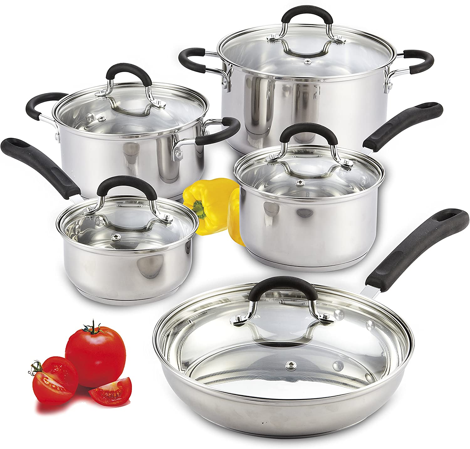 Cook N Home 10-Piece Stainless Steel Cookware Set: Kitchen & Dining