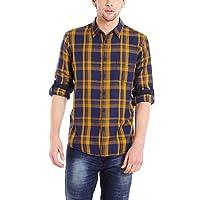 Dennis Lingo Men's Cotton Checkered Casual Shirt