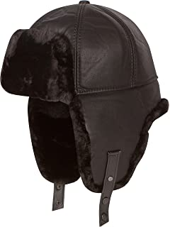 Sakkas Leather Shearling Faux Mink Fur Aviator Russian Ushanka Hat Chin  Strap 246e439802b4
