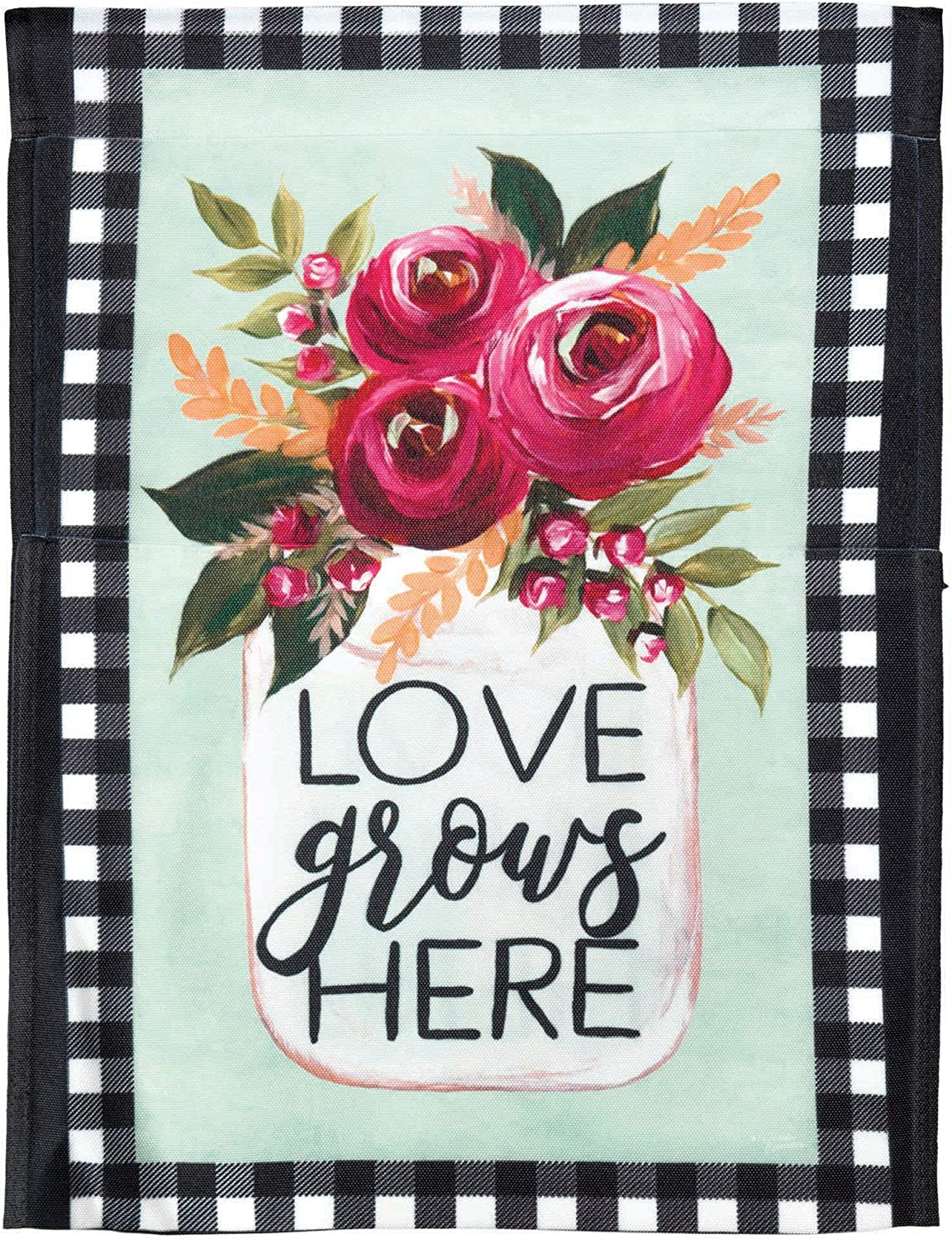 Love Grows Here Pink Rose 8 x 18.3 Large Polyester Outdoor Hanging Garden Flag