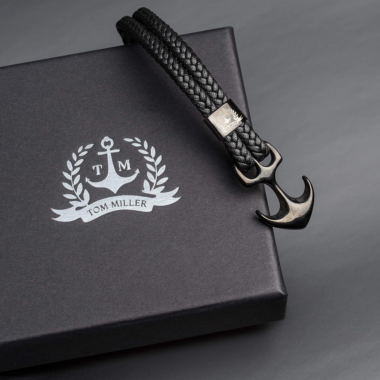 Tom Miller/® Bracelet Ancre Homme Noir en Cuir de haute qualit/é Cadeau pour Hommes
