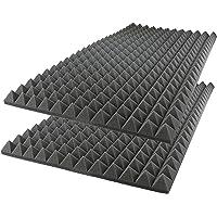 "Acoustic Foam Sound Absorption Pyramid Studio Treatment Wall Panel, 48"" X 24"" X 2"" (2 Pack)"
