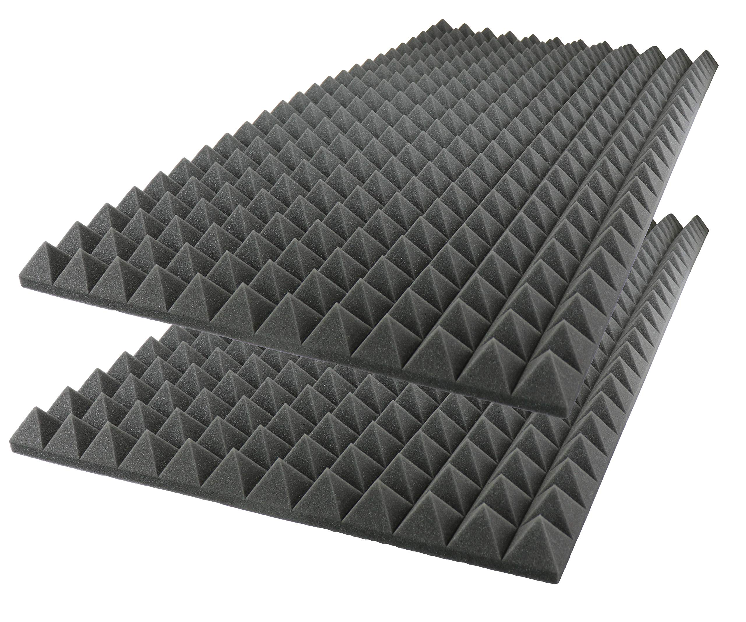 Foamily Acoustic Foam Sound Absorption Pyramid Studio Treatment Wall Panel, 48'' X 24'' X 2'' (2 Pack)