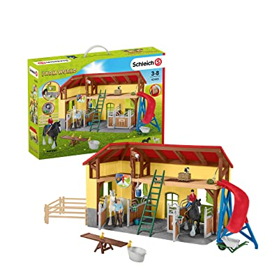 Schleich Farm World Horse Stable 30-piece Educational Playset for Kids Ages 3-8: Toys & Games