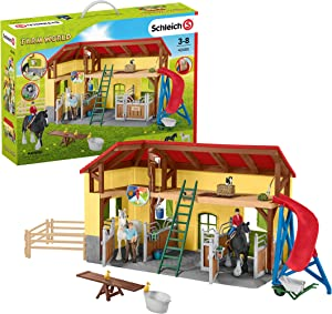 Schleich Farm World 30-piece Horse Stable Playset with Farm Animals for Kids Ages 3-8