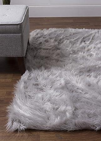 Amazon Com Super Area Rugs Silky Fur Faux Flokati Shag Area Rug 2