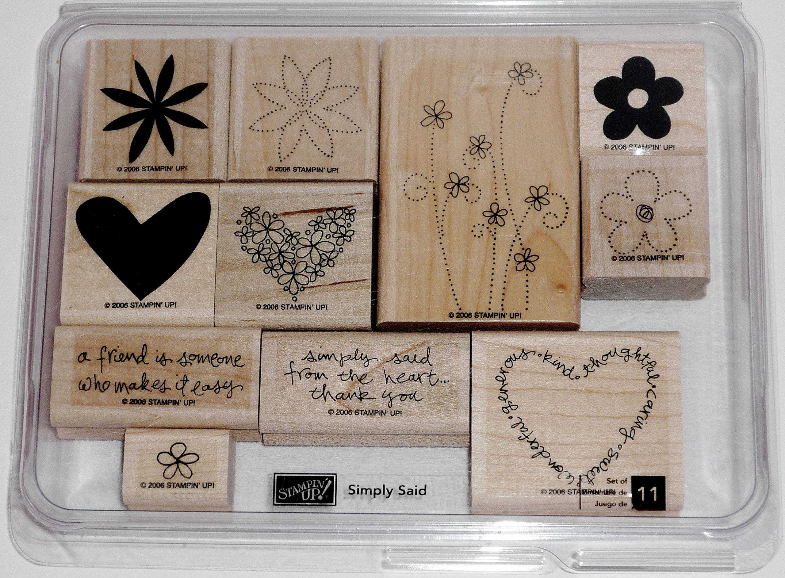 Stampin' Up! Simply Said Wood Mouted Rubber Stamp Set of 11 Hearts Flowers 2006 by Stampin' Up