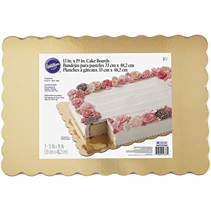 Wilton 2104-4333 Scalloped Cake Boards, Gold, Pack of 3