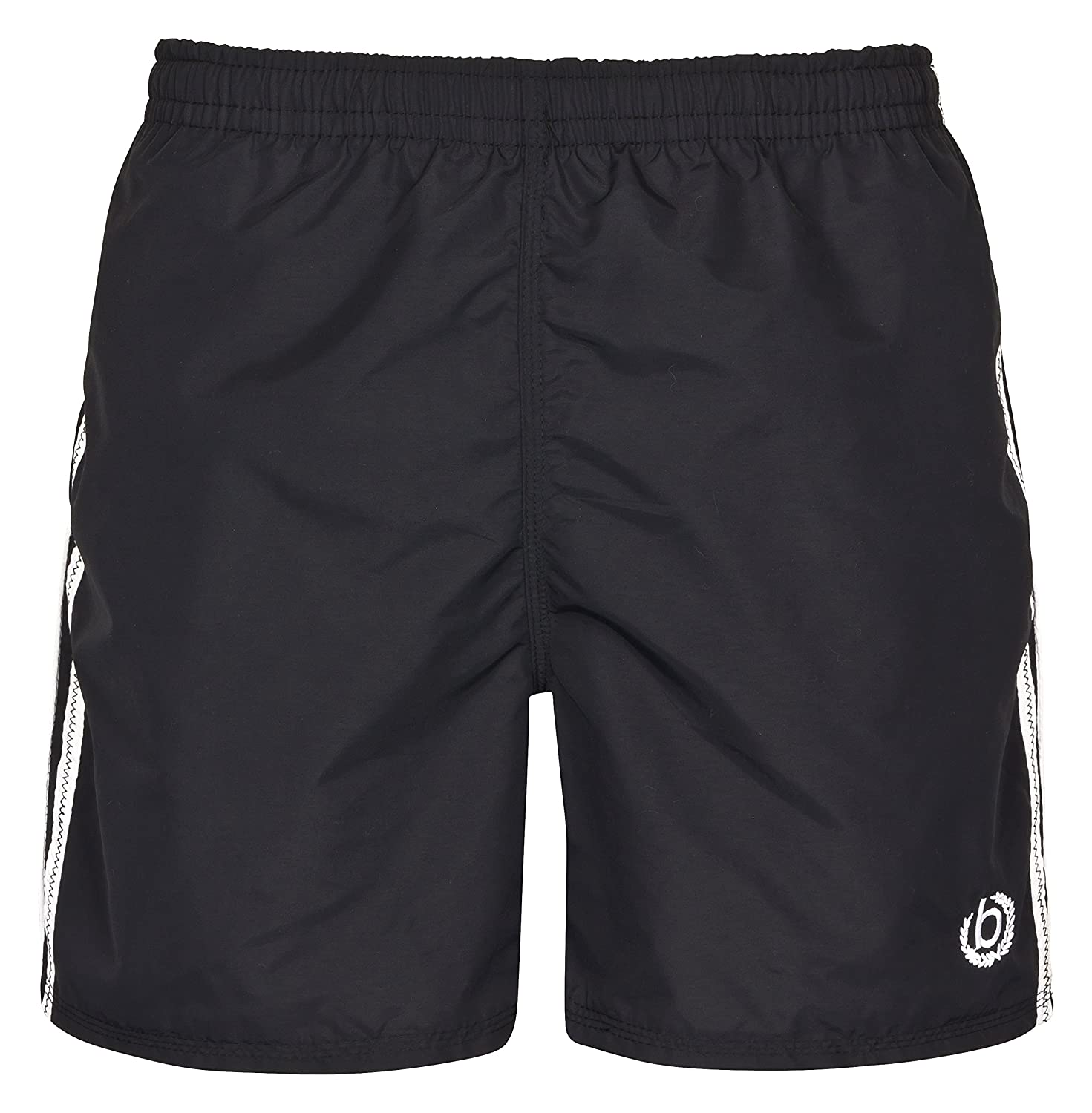 Bugatti ? - modern men's swim shorts in black with white stripes