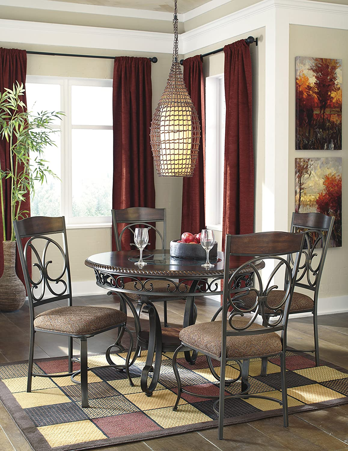 Gloombrey Dark Bronze Round Metal Dining Room Table w/ 4 Side Chairs