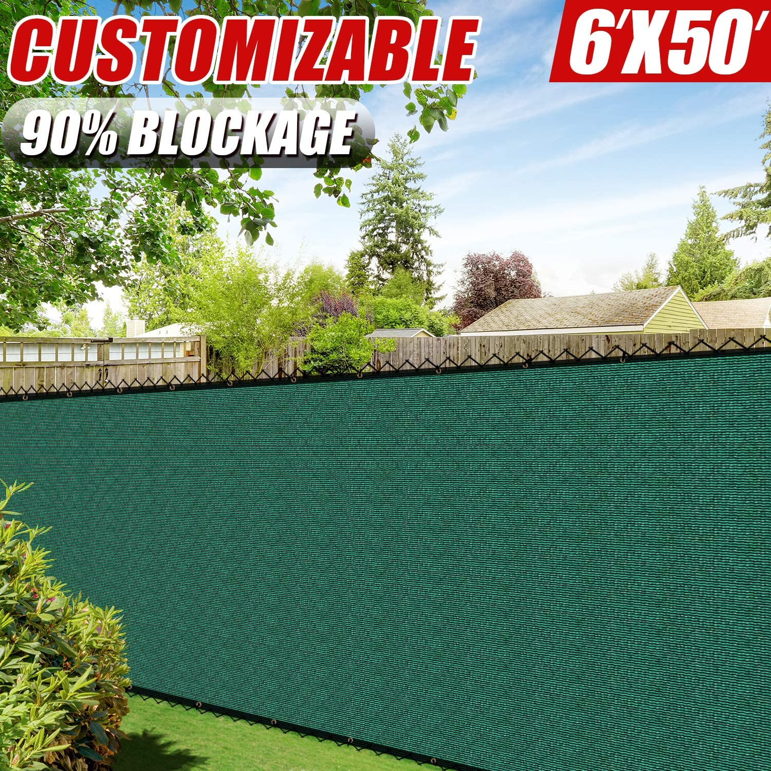 Amgo 6' x 50' Green Fence Privacy Screen Windscreen,with Bindings & Grommets, Heavy Duty for Commercial and Residential, 90% Blockage, Cable Zip Ties Included, (Available for Custom Sizes)