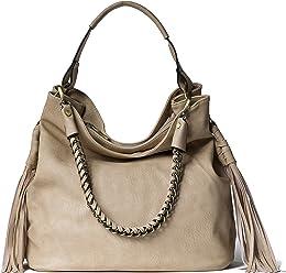 2b59b92ef98f Handbag Republic New Womens Designer Vegan PU Leather Shoulder Bag Hobo  Style Purse With Fringe Design