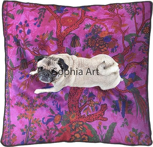 Elephant Mandala Floor Pillow Seating Ottoman Pouf Square Indian Cushion Cover
