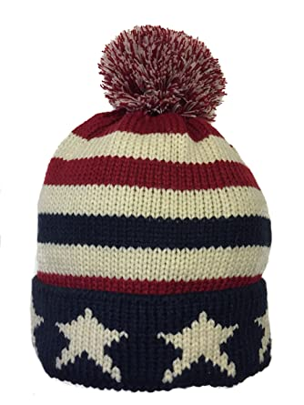 84b8e638f08 Womens Hats Mens Woolly Hats Bobble Hat USA Flag Stars And Stripes Knitted  American Souvenir Winter Pom Pom Beanie  Amazon.co.uk  Clothing