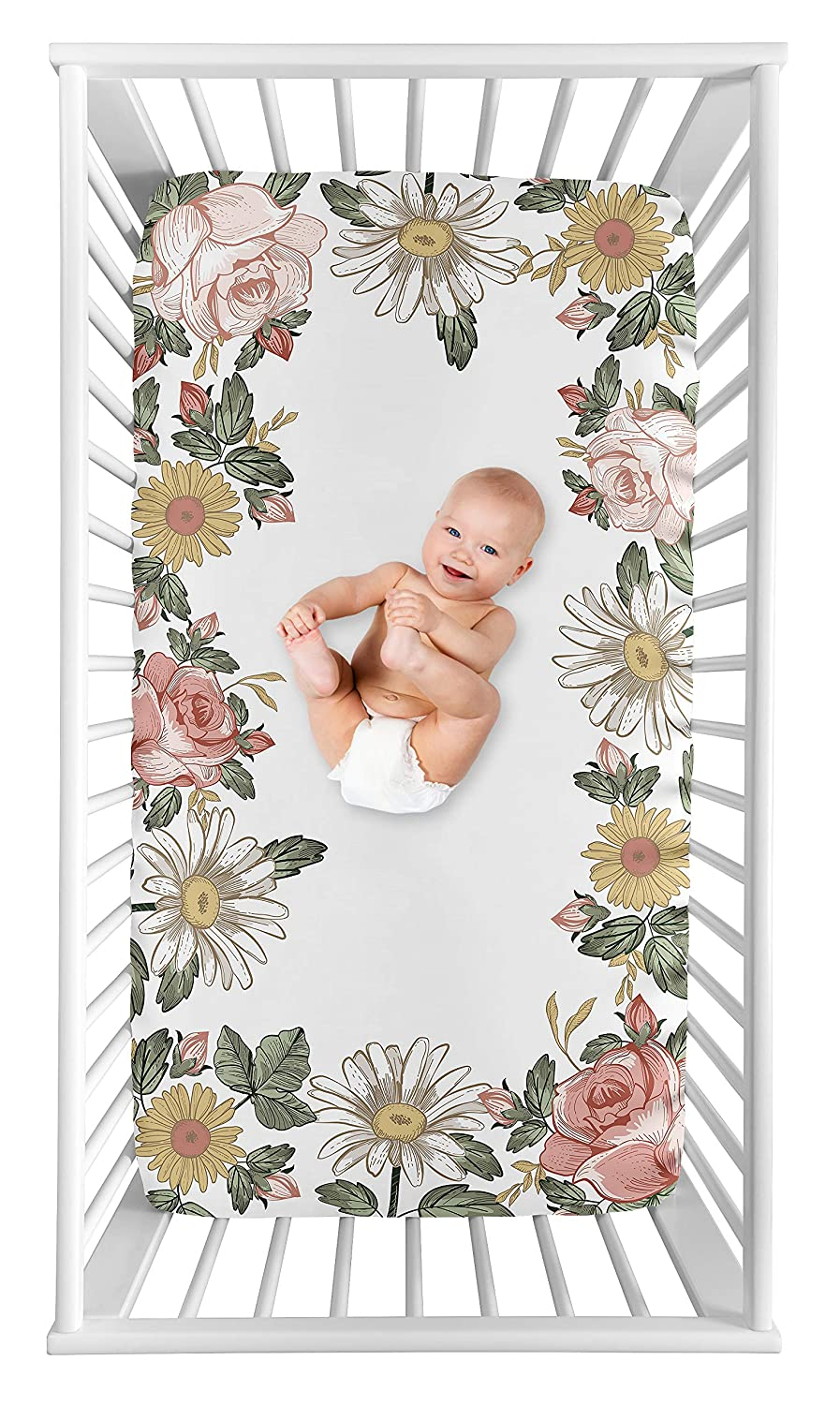Sweet Jojo Designs Vintage Floral Boho Girl Fitted Crib Sheet Baby or Toddler Bed Nursery Photo Op - Blush Pink, Yellow and Green Shabby Chic Rose Flower Farmhouse