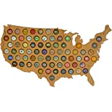 USA Beer Cap Map Cherry - Glossy Wood Bottle Cap Holder - Skyline Workshop