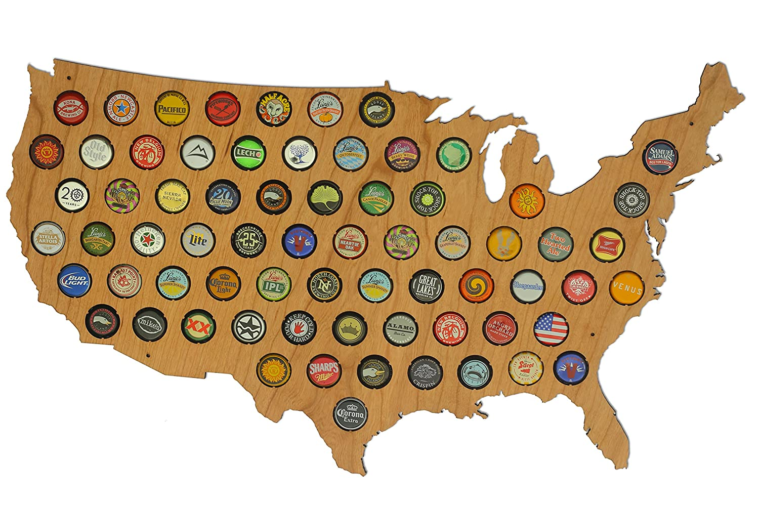 Amazoncom USA Beer Cap Map Ultra Detailed Glossy Wood Bottle - Usa map buy