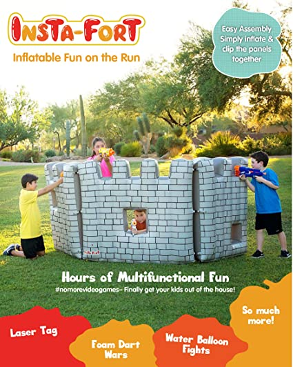 Insta-Fort Inflatable Fort Castle - 3 Piece Panel with Cutout Windows for  Foam Dart, Laser Tag, Water Balloon, Snowball Games and More (Inflates to  4'