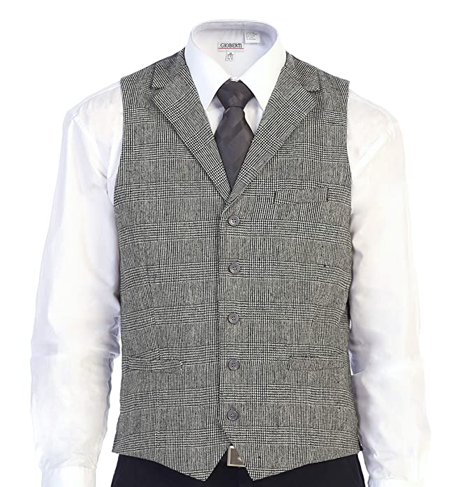 1920s Style Mens Vests Gioberti Mens 5 Button Tailored Collar Slim Fit Formal Herringbone Tweed Suit Vest $24.99 AT vintagedancer.com