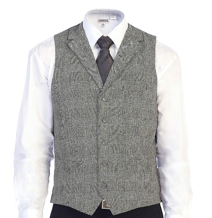Men's Vintage Vests, Sweater Vests Gioberti Mens 5 Button Tailored Collar Slim Fit Formal Herringbone Tweed Suit Vest $24.99 AT vintagedancer.com