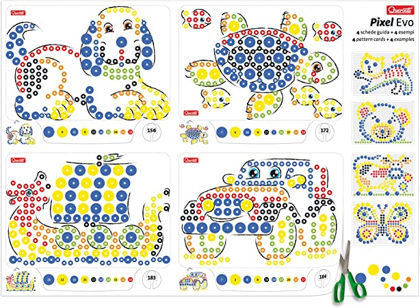 with 4 Design Cards and 300 Pegs Quercetti Pixel Evo Art Set Large