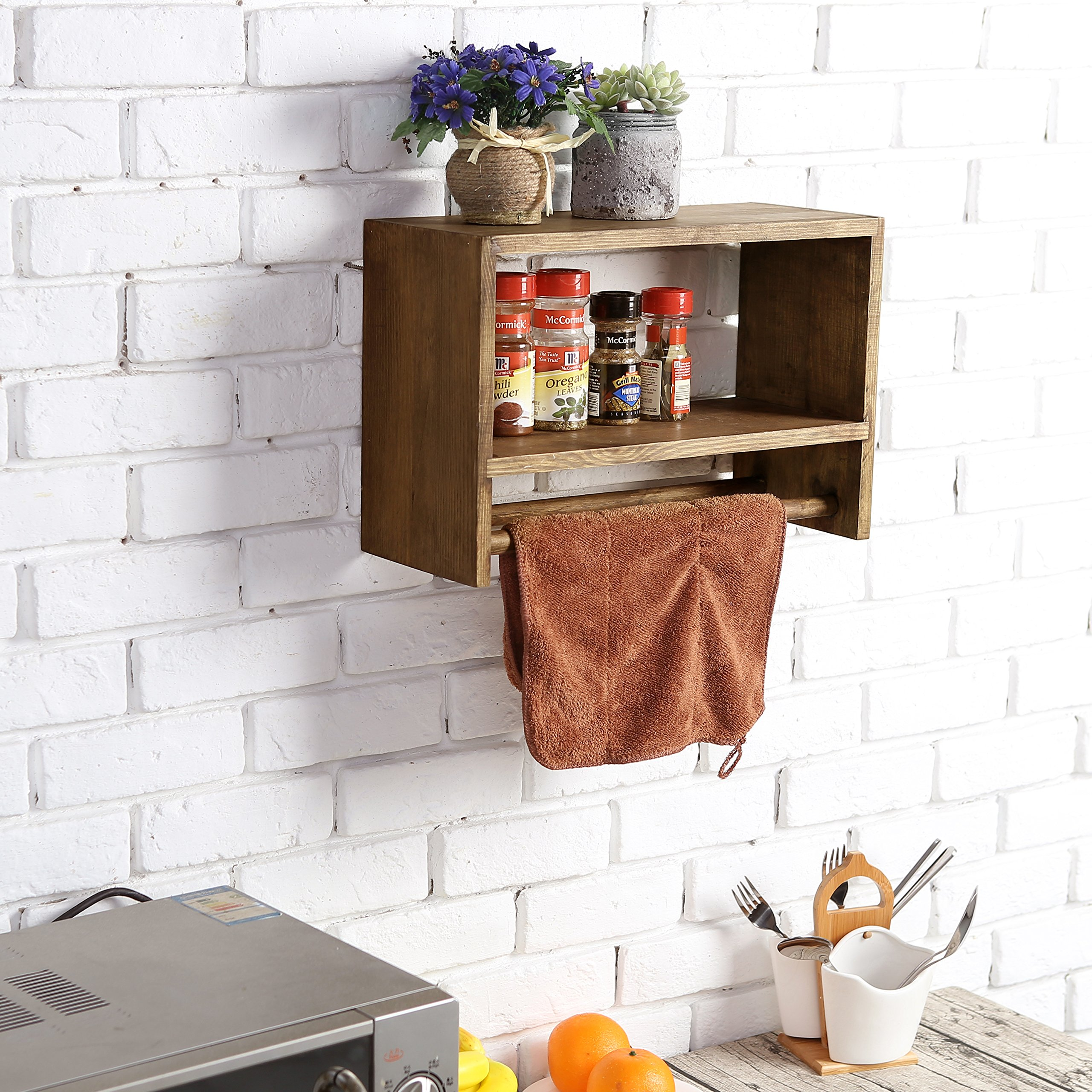 Rustic Wall Mounted Wood Spice Rack, Kitchen Floating Shelf with Double Towel Bar by MyGift (Image #4)