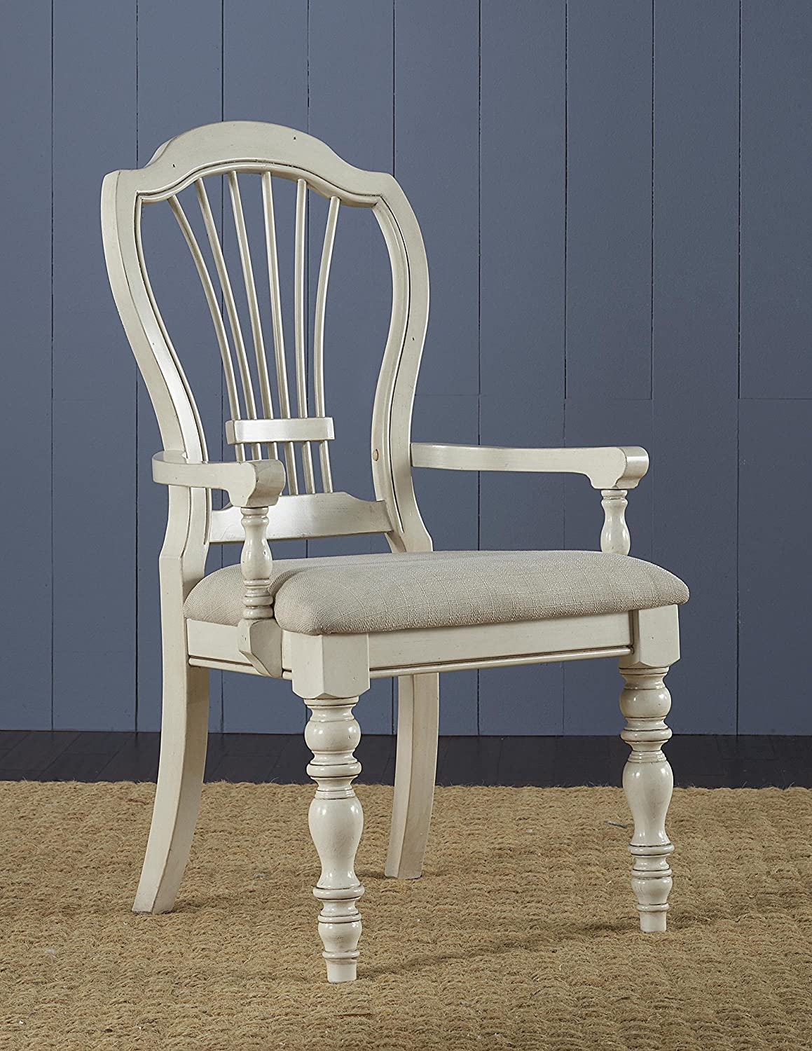 Hillsdale Pine Island Wheat Back Arm Dining Chair Set of 2