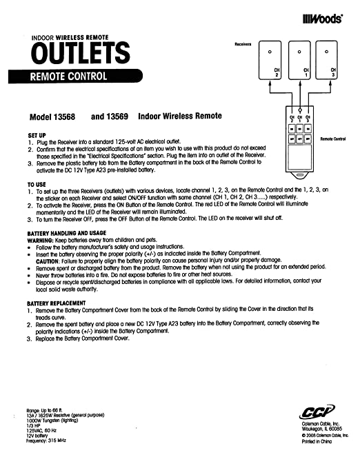 Woods 13568 Indoor Wireless Remote Control Outlet, 3-Outlet ...