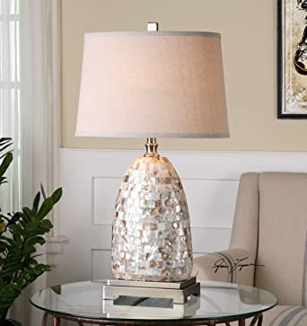 Tiled Capiz Shell Table Lamp Mother Of Pearl Silver Amazon Com