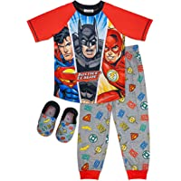 Justice League Boy's Pajama Set,Batman Superman Flash,PJ set with Matching Slippers, Sizes 4/5 to 10/12