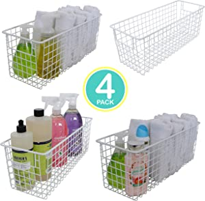 "Kitchen Basics 101 Small Farmhouse Metal Wire Storage Basket Bins with Handles 16"" x 6"" x 6"" Closets, Shelves, Cabinets, Bathrooms (White, 4)"