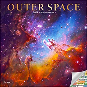 Outer Space Calendar 2021 Bundle - Deluxe 2021 Astronomy and Space Wall Calendar with Over 100 Calendar Stickers (NASA Gifts, Office Supplies)