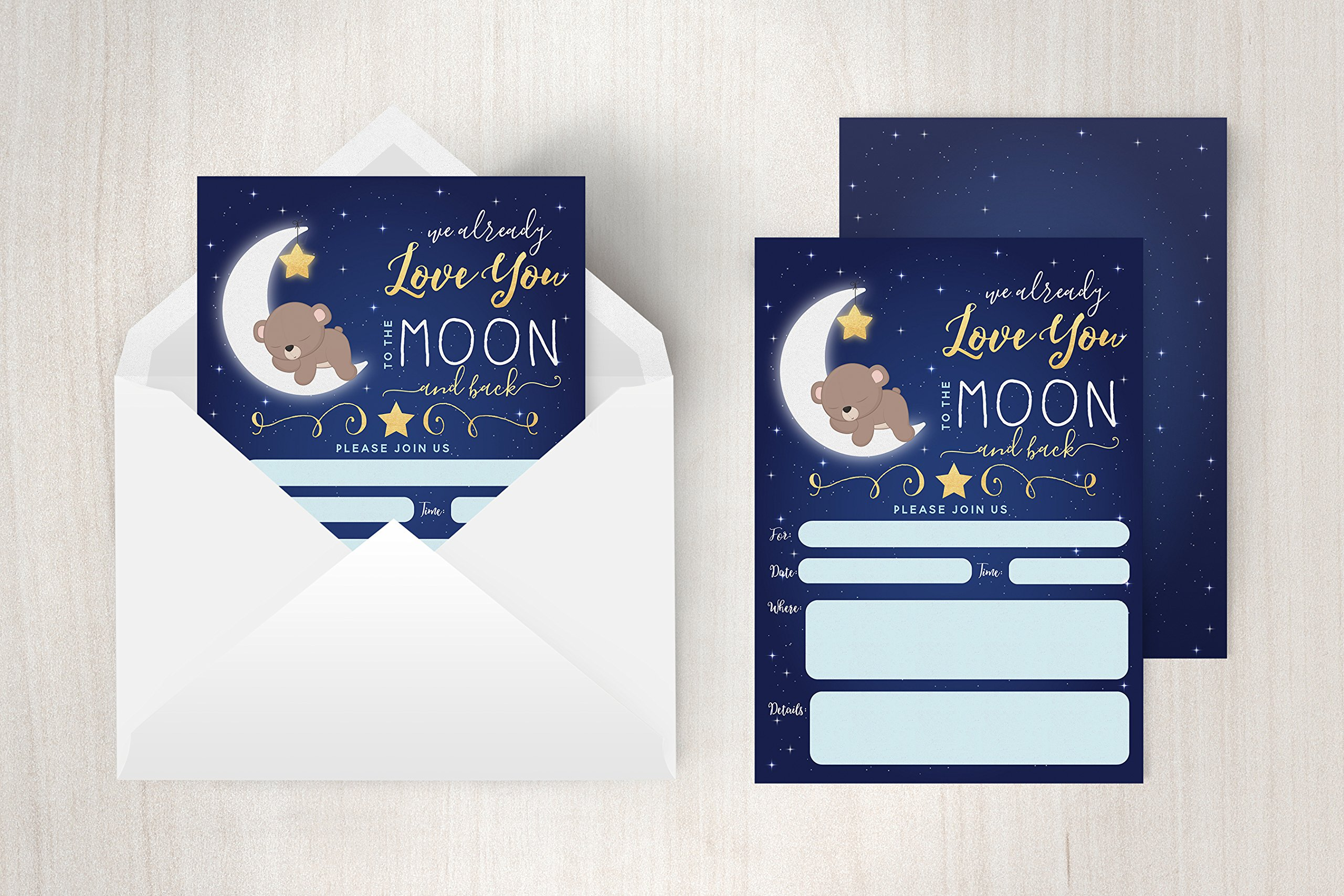 Boy Baby Shower Invitation, Love You To the Moon and back Baby Shower Invitation, Bear Baby Shower invite, Twinkle Twinkle Little Sar, 20 Fill in Invitations and Envelopes by Your Main Event Prints (Image #4)