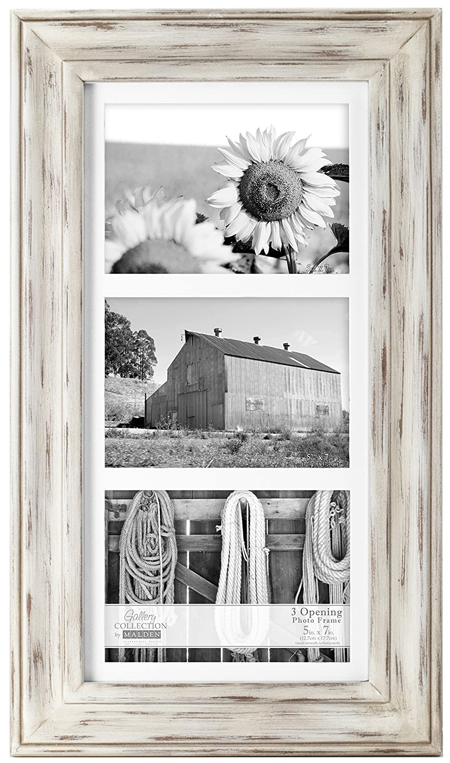 amazoncom malden international designs whitman white wash matted 3 opening collage wood picture frame 5 by 7 inch
