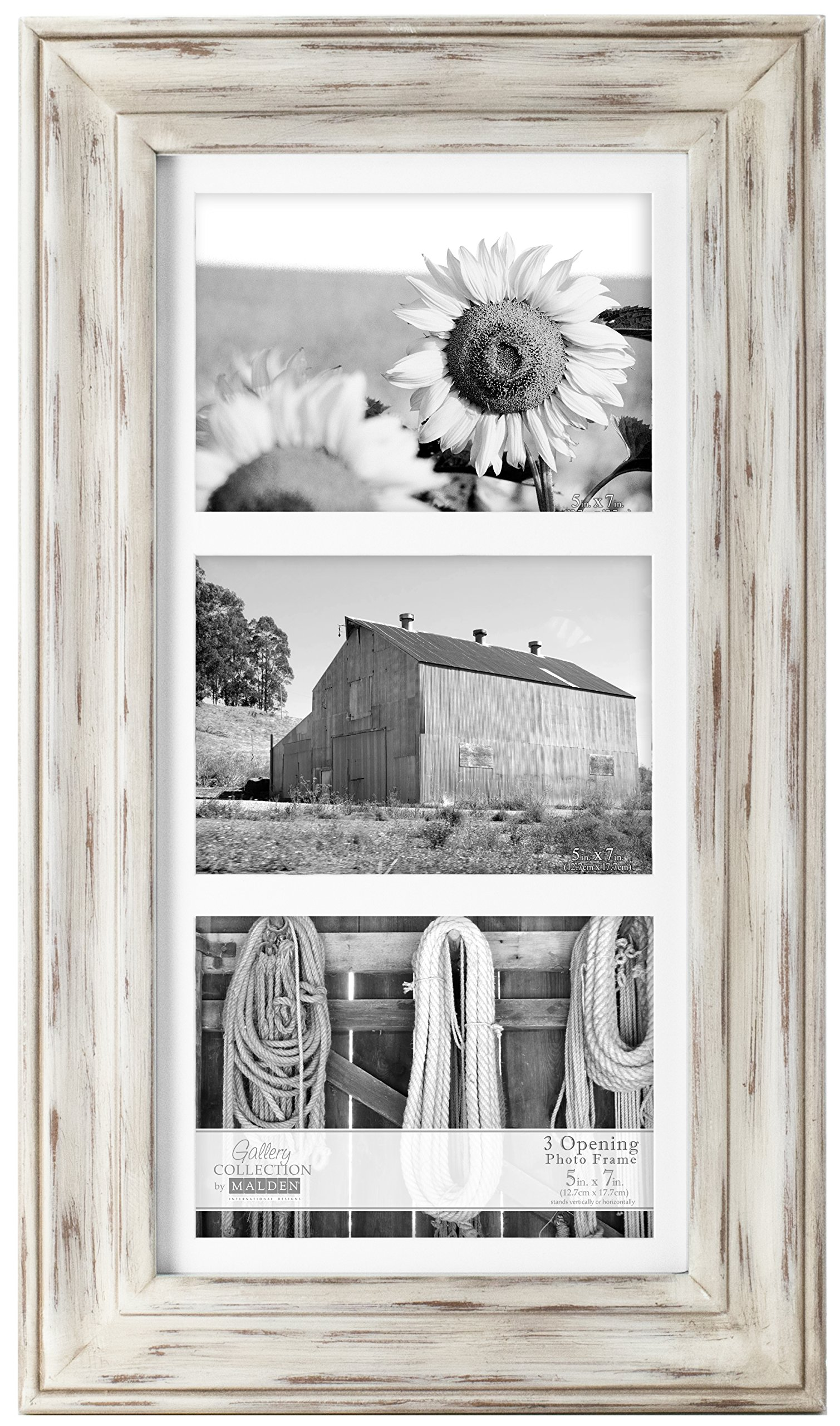 Malden International Designs Whitman White Wash Matted 3 Opening Collage Wood Picture Frame, 5 by 7-Inch by Malden International Designs