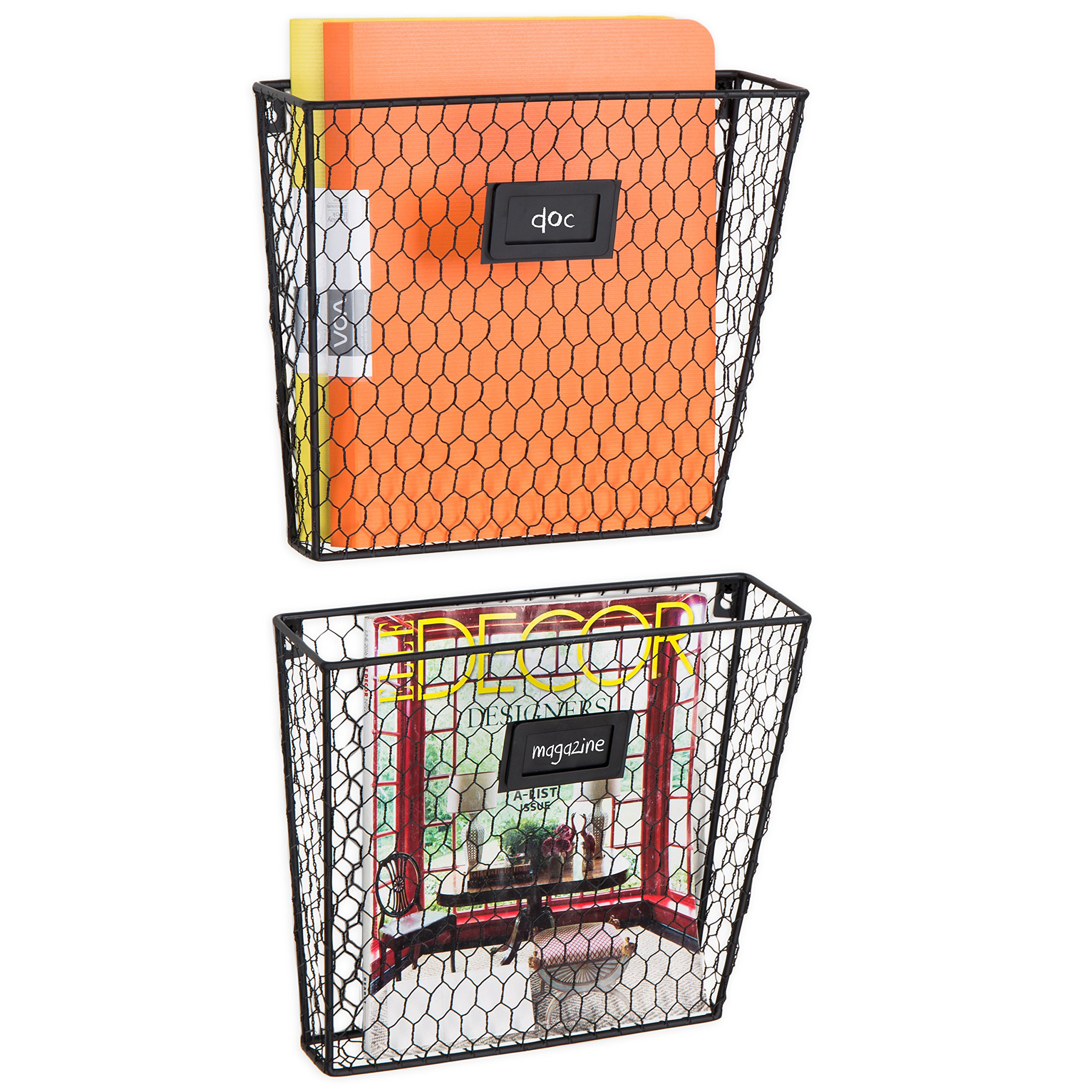 MyGift Rustic Chicken Wire Wall-Mounted Magazine & File Folder Baskets w/Chalkboard Label Inserts, Set of 2 by MyGift (Image #3)