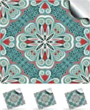 """30 Turkish Mint - Self Adhesive Mosaic Wall Tile Decals For 150mm (6 inch) Square Tiles -(TP 80)- Realistic Looking Stick On Wall Tile Transfers Directly From the Manufacturer: TILE STYLE DECALS, No Middleman -- Peel and Stick on Tile to Transform your Kitchen, Bathroom – Oil-proof, Waterproof Tile Stickers, Heat Resistant Sticks on tile kitchen tiles stickers / Bathrooms Tile Stickers (6"""" - Pack of 30, Turkish Mint)"""