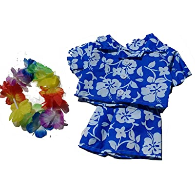 """Hawaiian Boy w/Flower Lei Teddy Bear Clothes Outfit Fits Most 14"""" - 18"""" Build-a-bear and Make Your Own Stuffed Animals : Toys & Games"""