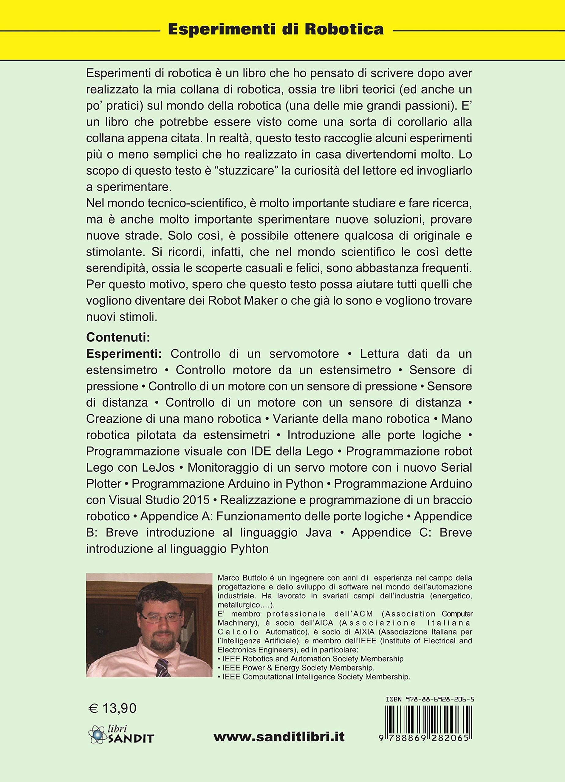 Esperimenti di robotica (Elettronica): Amazon.es: Buttolo, Marco ...