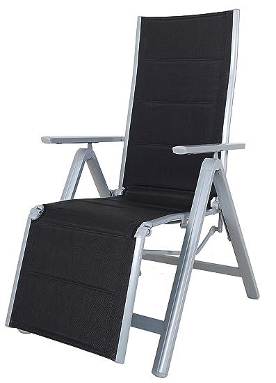 Amazon Sedie Da Giardino In Alluminio.Chicreat Sedia Sdraio Pieghevole Deluxe Alluminio Colore Nero Argento