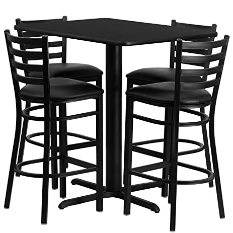 Commercial Grade 24u0026quot; x 42u0026quot; Rectangle Bistro Table and Metal Barstool Set; Laminate  sc 1 st  Amazon.com & Amazon.com: Commercial Grade 24