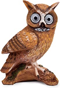 Blazin Bison Owl Solar Garden Light | Outdoor Patio Decor - Lawn Ornaments | Solar Decorative Lights for Yard, Balcony, Deck | Weather Resistant - LED | Housewarming Gift | Auto On/Off (Brown)