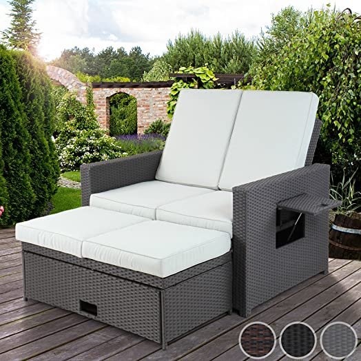 Miadomodo Poly-rattan 3 in 1 Sofa Garden Patio Furniture Day Bed ...