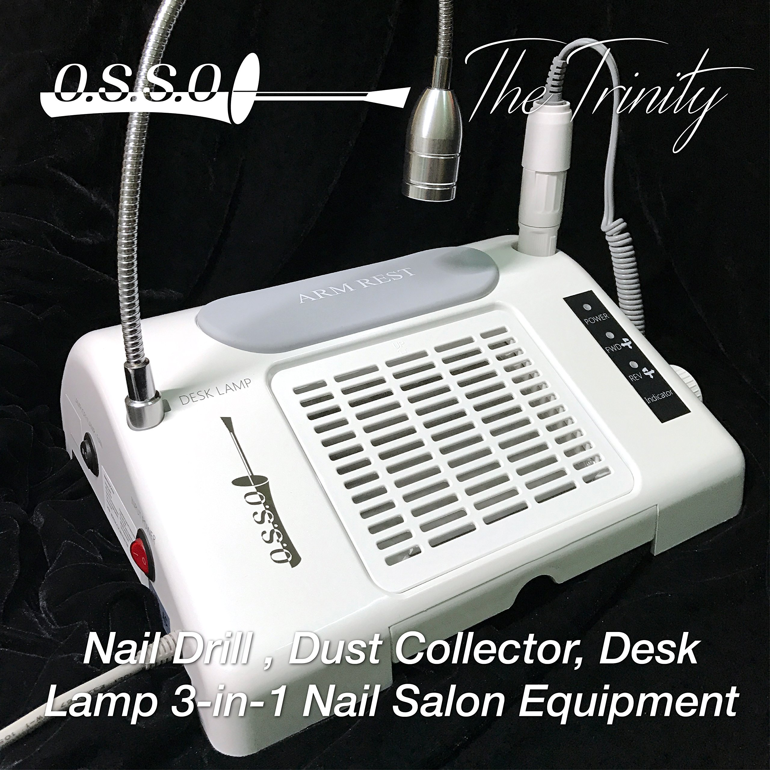 35000 RPM Nail Drill Dust Collector Desk Lamp 3-in-1 machine for salon by O.S.S.O Gel (Image #1)
