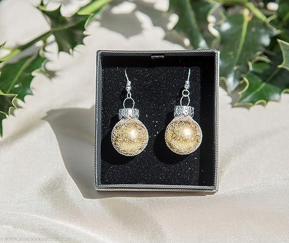 Gold Sparkle Christmas Bauble Earrings
