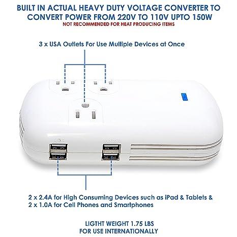 Amazon.com: Ceptics Europe Travel Plug Adapter (Type C) - 3 Pack ...