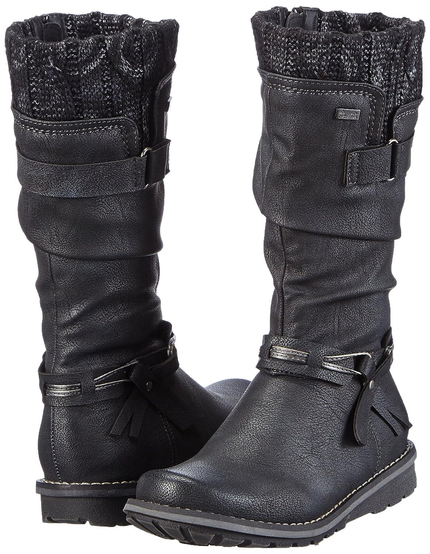 Rieker Kinder K0277, Mädchen Langschaft Stiefel, Schwarz
