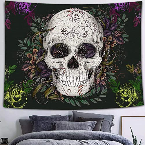 FEASRT Skull Tapestry, Skeleton Flower Floral Tapestries Wall Hanging for Living Room Bedroom Dorm Home Decor 80 60 Inches GTZYAY8
